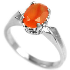Natural ORANGE FIRE OPAL OVAL STERLING 925 SILVER RING S5.75