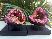 Large Pink Geode Pair W/Stands Pink Crystal Geode Quartz Specimen Moroccan Geode