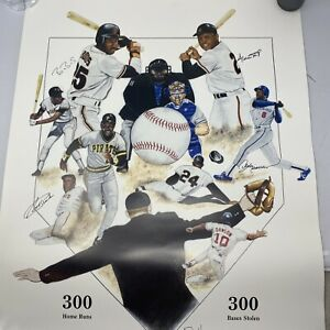 BARRY BONDS, BOBBY BONDS, WILLIE MAYS, ANDRE DAWSON Signed Lithograph Steiner