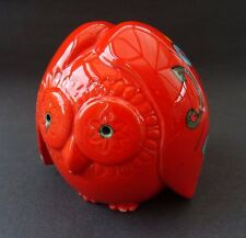 True Vintage Italian Bertoncello Retro 60s 70s Moneybox Orange Owl Italy Pottery