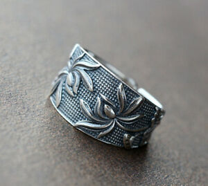 D10 Ring Lotus Blossom 925 Sterling Silver Adjustable Size