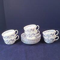 MINTON SHALIMAR SET 6 COFFEE TEACUPS TEA CUPS SAUCERS BLUE FLORAL BONE CHINA ENG