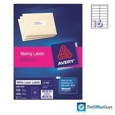 AVERY® L7162 White Laser Labels 99.1 x 34mm 16/Sheet, Box 100 (959003)