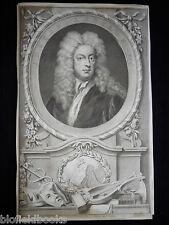 Original Jacobus Houbraken 1748 Joseph Addison Portrait Engraving RARE Etching