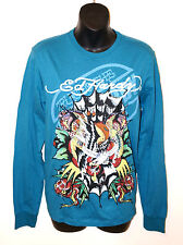 NEW ED HARDY CHRISTIAN AUDIGIER Sleeves SHIRT Born Free EAGLE Tattoo Crystals S