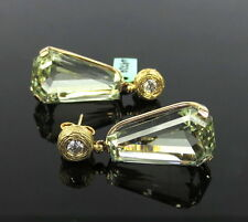 Rare 13.50ct Heliodor & 0.30ct Diamond Hand Carved 14K Gold Earrings