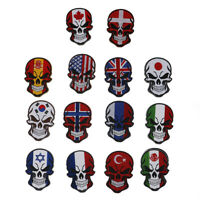 Skull National Flag Embroidery Patches USA Russia Spain France DIY Accessory New