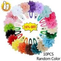 10Pcs Chiffon Flower Girls Baby Hair Clips Hairpins Barrettes P7O6 Headwea N2K5