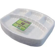 10 X 25cm DISPOSABLE PLATES WHITE FOAM POLYSTYRENE PARTY KIDS BBQ 4 COMPARTMENTS