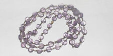 61CARTS  5to7MM NATURAL GEMSTONE AMETHYST FACETED COIN BEADS NECKLACE #517
