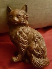 Red Mill Cat Figurine Sculpture Hand Carved Pecan Shells 5""