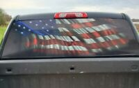 American Flag USA Pick up Truck Rear Window Graphic Decal Perforated Vinyl