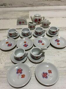 Miniature Porcelain/Ceramic Tea Set for Kids Butterflies Set of 6 Cups/Plates+