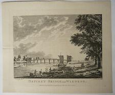 Gravure Ancienne XVIIIe MICHAEL ANGELO ROOKER 1774 SANDBY Datchet Bridge Windsor