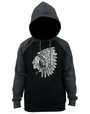 Men's Sketch Indian Chief Charcoal Raglan Hoodie Native American Tribal Aztec