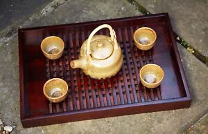 Large Japanese style lattice dark wooden serving tray with handles