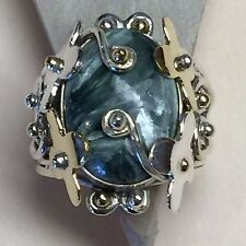 Natural 10ct Seraphinite 925 Solid Sterling Silver Victorian Solitaire Ring 6.75