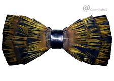 Men's Feather Handmade Pre-Tied Bow Tie (Yellow mixed Yellow) BT016