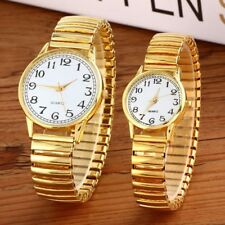 Flexible Stretch Gold Band Men Women Round Fashion Couple Watch Dial Quartz