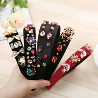 Women's Crystal Headband Fashion Wide Fabric Hairband Hair Band Hoop Accessories