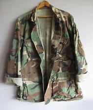 Vintage Camo Military Jacket Shirt Woodland Camouflage Faded 100% Cotton Medium
