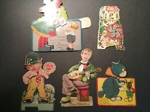 Vintage Valentine Card lot of 5, mechanical, Germany,Kalidescope,cat,