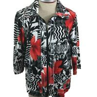 Onque Casuals jacket size XL full zip Sport Couture 3/4 sleeve 2 beaded pockets