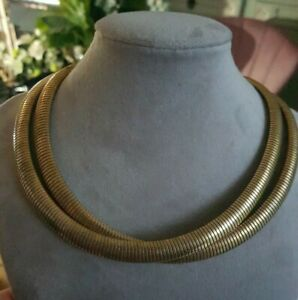 Vintage Double Snake Chain Collar Necklace Gold Tone Cleopatra Egyptian Retro