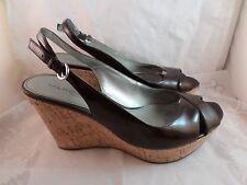 Marc Fisher GLOW 3 Open toe Cork wedge sling back heels  size 8.5 Brown