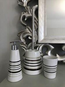 Bathroom Ceramic Striped Soap Dispenser Toilet Brush & Holder & Tumbler Set