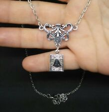 TRIQUETRA BOOK OF SHADOWS LOCKET CHARMED NECKLACE SILVER WICCA PAGAN
