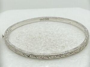 "Tacori Sterling Silver Hinged Bangle Bracelet 6.75"" 13g"