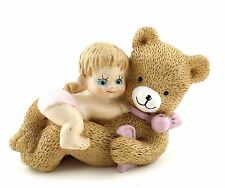 "3 Figurines of Baby Hugging Big Bear 2.5"" Tall Polyresin"
