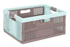 PROFESSIONNEL PLIANT AVEC POIGNÉES douces Aquamarine/marron 32 L boîte pliante