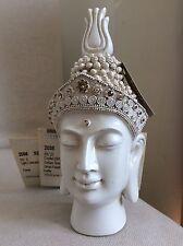 Beautiful Divine Buddhas Head Statue. Adorned In COLORADO Swarovski Elements