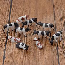 10 Pcs 1 87 Scale Model Painted Multi Color Farm Animals Cows for Model Railway