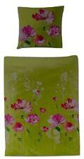 Bierbaum Renforce Bettwäsche Set 2 teilig 155 x 220 cm grün mit Blumen