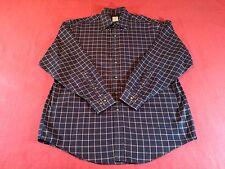 Brooks Brothers Dark Blue Plaid Men's Original Polo Shirt Non-Iron Cotton Size L