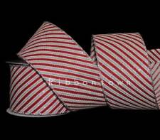 10 Yards Christmas Red White Silver Glitter Peppermint Candy Stripe Wired Ribbon