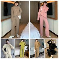 2-Teiliges Trendy Damenmode Pullover Strick Strickanzug Hosenanzug Winter Warm