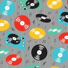 Nutex RETRO RECORDS cotton fabric vinyl music notes rock 'n' roll rockabilly 50s