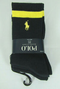 NEW Polo Ralph Lauren Boy's Socks 3 Pack Crew Ribbed Navy size 4-7