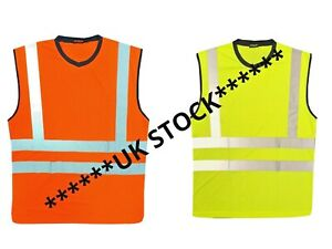 PREMIUM AVIATOR Hi Vis Sleeveless T-Shirt Vest Top Tank Muscle Hi-Viz Rail GO/RT