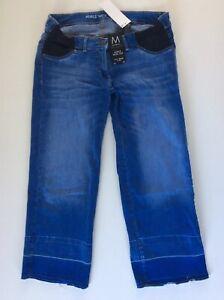 Next Maternity Ankle Length Wide Leg Blue Jeans, Size 10 Long, Bnwt