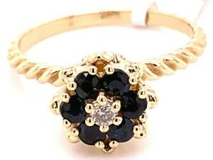 VINTAGE 1960'S LADIES 14K YELLOW GOLD TULIP SHAPED RING WITH SAPPHIRES & DIAMOND