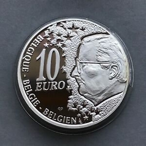 BELGIUM Silver coin  10 EURO  2002  Locomotive  Railways  Proof
