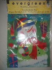 """NEW EVERGREEN SUEDE REFLECTIONS """"SEASONS GREETINGS"""" SNOWMAN GARDEN FLAG13x18"""""""