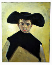 "20"" Oil Painting Canvas Large Hat Young Monk Shannon Portrait Brickey XXXVII"