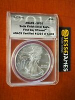 2014 W BURNISHED SILVER EAGLE ANACS SP70 FIRST DAY OF ISSUE LABEL