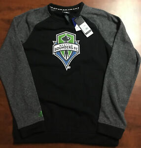 Seattle Sounders FC Adidas Pullover Fleece Black NWT Size Youth XL